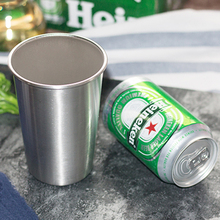 2pcs Stainless Steel Pint Cups Water Tumbler Large Beer Cup Iced Tea Coffee Mug 475ml Steel Cups for Kids Home Outdoor Drinkware