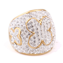 Stainles Steel Ring Gold Color Butterfly Pave Czech Crystals Engagement Rings For women