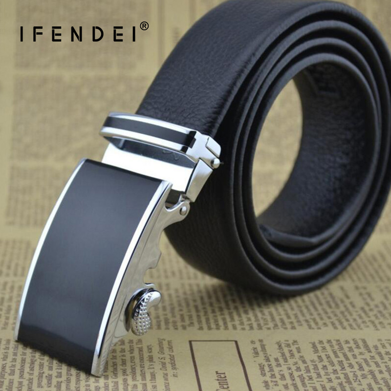 IFENDEI Cowhide Belt Men Double-sided First Layer Leather Strap Genuine Fashion Automatic Black Belt Waist For Jeans Business