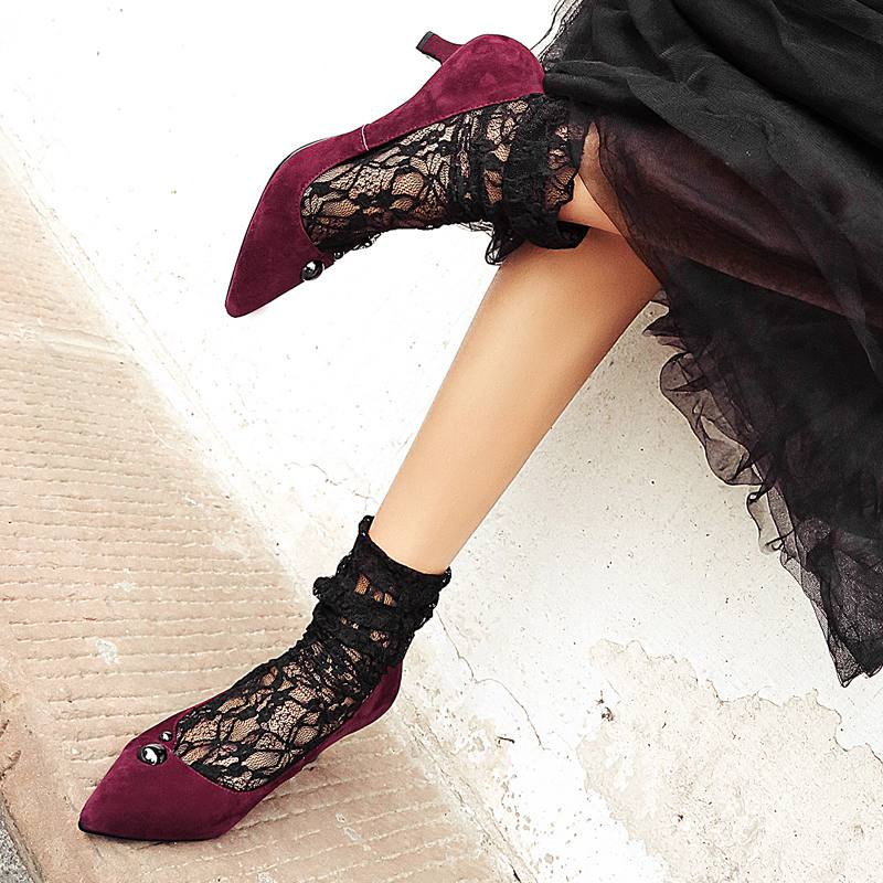 Krazing Pot New fashion brand shoe big size rivet pointed toe wedding high heel women pumps party office lady causal shoes 27<br><br>Aliexpress