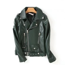2017 autumn European and American women metal zipper locomotive leather jacket PU leather jacket 38(China)
