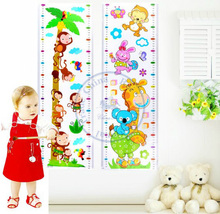 Kids cartoon wall stickers Growth Height chart ruler Measure grow up with me Decor Decoration wholesale retail(China)