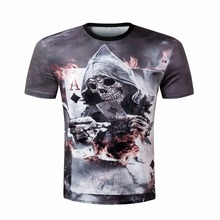 2017 3D Printed hip hop t-shirts short sleeve Tshirts Skull poker mens brand clothing summer men t-shirt Modern Cool casual tees