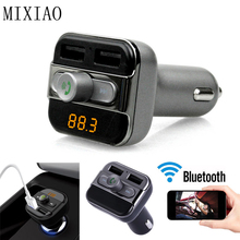 MIXIAO Bluetooth Car Kit Hansfree Wireless  FM Transmitter car mp3 player LCD TF Micro SD Dual USB Charger Car Accessories