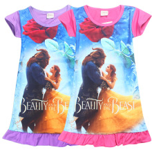 Hot sell Girls Beauty and the Beast dress 4 sizes baby Girl Children dress Medium style Red and purple Character Cotton dress(China)