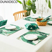 DUNXDECO Table Placemat Dinner Party Plate Cover Pad Desk Accessories Pastoral Style South East Asia Tropic Green Plant Decor