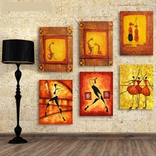 6 Panel Nordic Vintage Abstract Figure Wall Pictures Canvas Painting Poster Oil Painting Art Printed Living Room Home Decor