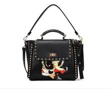 Female PU handbags selling rivets spraying beautiful women's shoulder bag fashion new inclined shoulder bag(China)
