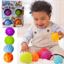 4pcs Textured Multi Ball Set develop baby's tactile senses toy Baby touch hand ball toys baby training ball Massage soft ball(China)