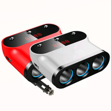 Red White 120W Power A Drag Three Car Cigarette Lighter USB Car Charger Independent Switch Current Display Voltage Detection