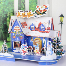 Toys Jigsaw 3D Hard Paper Puzzle House Christmas Building Toys Children's Educational Chalets Toys for Birthday Gift