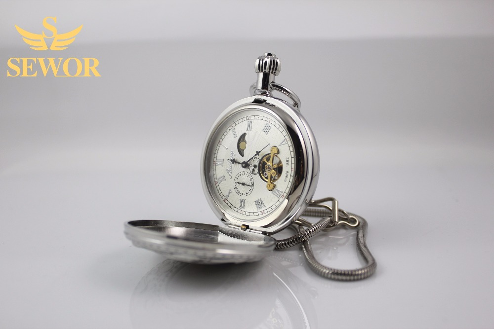 2017 SEWOR Top Brand Fashion noble women pattern sliver  moonphase pocket watch C213<br><br>Aliexpress