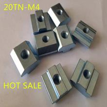 100pcs m4-20 M4 T nut Hammer Head Fasten Nut Connector Nickel Plated for 20 series Slot Groove 6(China)