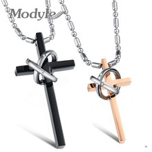 Modyle New Fashion Jewelry Stainless Steel Cross Lovers Necklace(China)