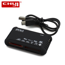 CHYI New Black Mini USB 2.0 Card Reader All in 1 Memory CardReader for SD XD MMC MS CF SDHC TF Micro SD M2 Adapter