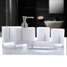 Acrylic five pieces set bath wash set gift bathroom supplies diamond cup brush lovers Soap dish Toothbrush holder(China)