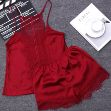Lace Hollow Out Back Luxury Imitation Satin Women Short Pajama Set Sexy Lace Pajamas Suit Silk Thin Hot Women Night Wear Clothes(China)