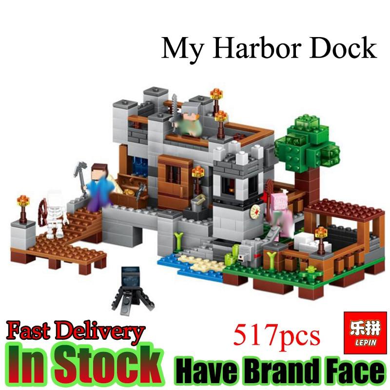 Lepin Minecraft 517 Pcs  Harbor Dock My world house Model Building Blocks  Bricks Toys For kids  Gift<br>