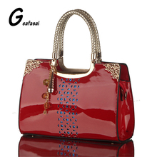 new red blue black pendant Hollow out Sequined Glossy patent leather Women handbag boston tote shoulder top handle frame bags PU