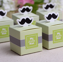 "20Pcs/set Cute ""My Little Man"" Mustache Blue Green Birthday boy baby shower Candy Box Gift Packaging Chocolate Boxes"