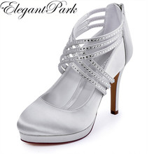 Woman Shoes High Heel Silver White Ivory Rhinestone Zip Cross Strap Platform Satin Bride Bridesmaid Wedding Bridal Pumps EP11085(China)