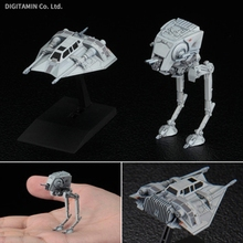 Original Bandai Star Wars Vehicle Model Series AT-ST&SNOWSPEEDER 008 PVC Figure Doll Model Toys Figurals