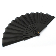 Delicate Solid Black Folding Hand Fans 23cm Summer Portable Women Fans Craft Souvenir Home Decor