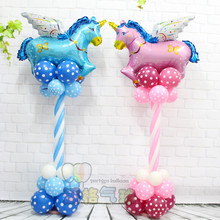 1set unicorn Fly horse upright Helium balloons Kids birthday party decorations latex ballons Inflatable toys gifts