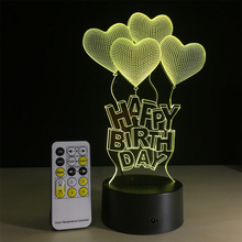 USB Lampara Love Heart Colorful 3D birthday decorative night light romantic birthday atmosphere night lamp as Valentine Gifts