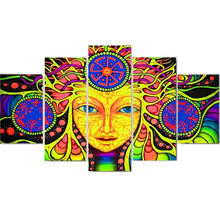 Canvas Printed Psychedelic Mandala Abstract Paintings 5 Panels Wall Art Home Decoration Poster Wall Pictures For Living Room(China)