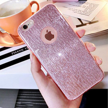 PINK For Coque iPhone 7 Case Luxury Silicone Shine Glitter Dust Plug Cover fundas For iPhone 7 Plus Transparent Edge Soft Back
