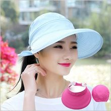 Breathable Summer Hat For Women Bow Big Brim Visor Caps  Anti-UV Sun Hats Light blue navy Chapeu Feminino HT51039+38