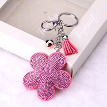 Keychain on bag llaveros mujer Flower Rhinestone Tassel Keychain Bag Handbag Key Ring Car Key Chain Small Pendant Cool Gift