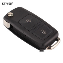 KEYYOU 2 Buttons Remote Flip Folding Car Key Shell for VW Volkswagen MK4 Bora Golf 4 5 6 Passat Polo Bora Touran With LOGO