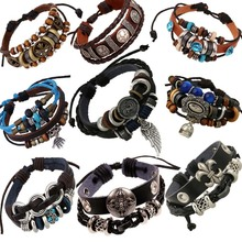Vintage rope leather mens bracelets leather rope hand woven bracelet for men rope braided bracelet male female bracelet Jewelry