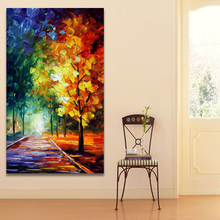 Palette Knife Painting on Canvas Prints Road on Forest Trees Pictures Night Landscape Painting for Living Room Home Decor