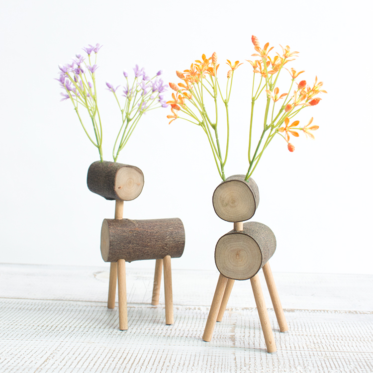 Fun handmade wooden small Deer home decoration Creative pastoral desktop small furnishings(China (Mainland))