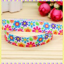 5/8'' Free shipping Fold Elastic FOE flowers printed headband headwear hair band diy decoration wholesale OEM B1209