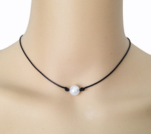 10mm Cultured Freshwater White Pearl Necklace Single Pearl Black Leather Choker Real Floating Pearl Pendant Handmade Jewelry