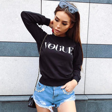 BTS 2017 Women Fashion Brand Hoodie VOGUE Letter Print Sweatshirt Knitted Long Sleeve Pullovers Polerones Mujer Harajuku Tops(China)
