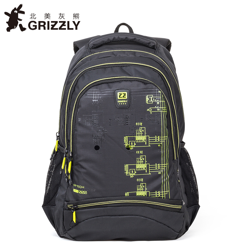 GRIZZLY Men Fashion Backpack Nylon Multifunction Casual Mochila for Teenager Boy School Bag Waterproof Large Capacity Travel Bag<br>