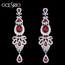 OCESRIO Luxury Long Red Earrings for Wedding Women Crystal Big Earrings with Stones Fashion jewelry pendientes mujer ers-h41(China)