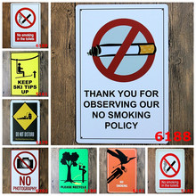 Metal Stickers Tin Sign Pub Club Gallery Poster tips Vintage Plaque Decor Plate No Smoking Warning Signs Poster Signs Road Decor