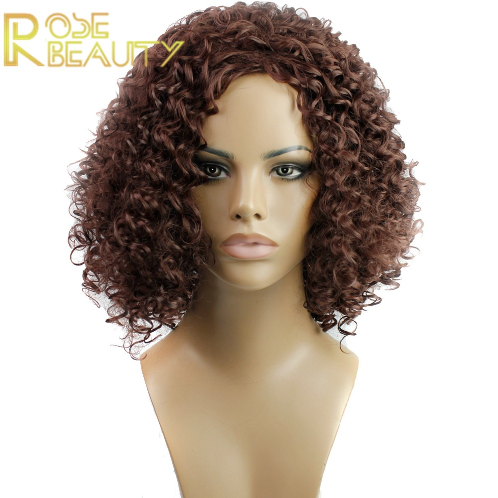 22 Natural Black Tight Kinky Curly Ombra Dark Brown/Blonde cosplay curly NEW Heat Resistant parrucca Synthetic Hair Women Wigs<br><br>Aliexpress