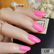 24pcs new product hot sales candy oval decorative fake nails short round section deep pink comfortable fit false nails R26 P81