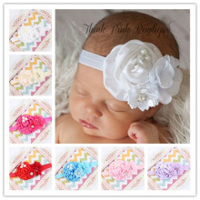 9Clr Fashion children infant kids newborn Baby girl Accessories pearl diamond satin flower Head bands Headwear Hair Band