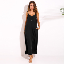 Buy ZANZEA 2017 Summer Style Women Boho Strapless Sexy V Neck Sleeveless Dress Casual Loose Long Maxi Solid Dress Vestidos Plus Size for $12.19 in AliExpress store