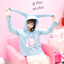 Princess sweet lolita Hoodies Japanese girl rabbit ears hooded printing color ribbon ring type A shaped long sleeved hoodie VC95(China)