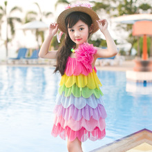 Children's clothes new summer girl rainbow harness princess dress big children' s flower vest dress girls dress(China)