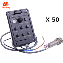Wolesale 50 pcs High Quality 4-Band EQ Equalizer Acoustic Guitar Preamp Piezo Pickup Guitar Tuner with Mic Beat Board(China)